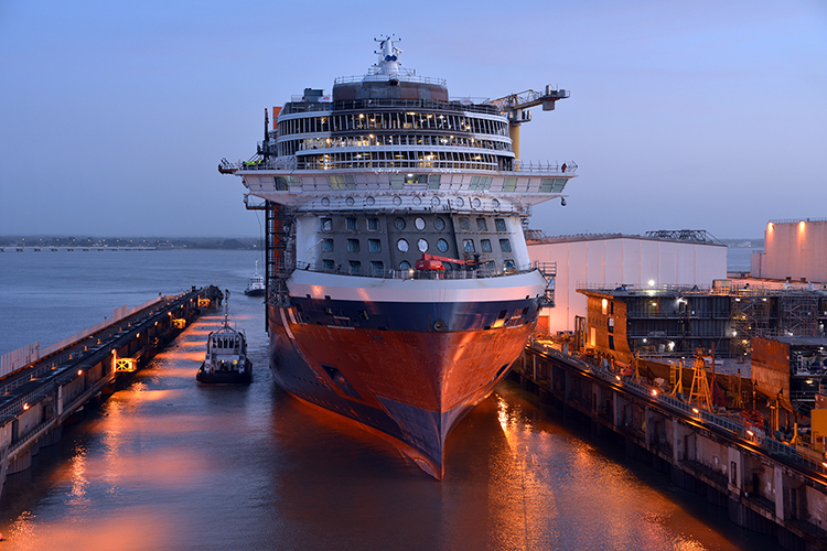Celebrity Edge Cruise Ship Is Floated Out Of Dry Dock